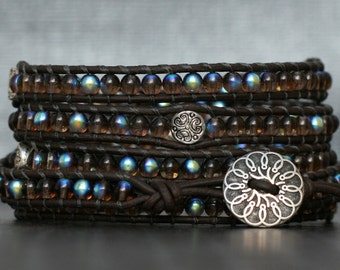 wrap bracelet- czech glass beads and silver accents on black brown leather- beaded boho gypsy bohemian jewelry - dark brown