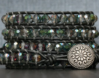 READY TO SHIP wrap bracelet- green plum clear faceted crystals on pewter leather - boho glam bohemian gypsy