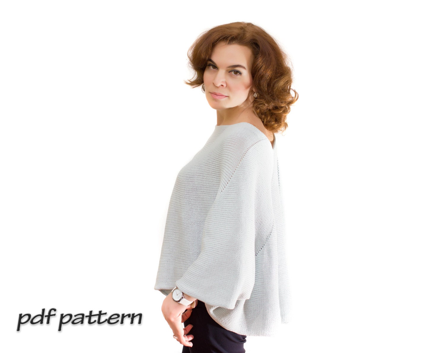 Cotton Cardigan Knitting Pattern : KNITTING PATTERN cotton pullover Women knit tunic Tutorial pullover Knitted t...