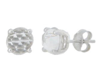 White Topaz Checkerboard Round Stud Earrings .925 Sterling Silver