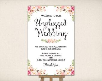 "Instant Download, Unplugged Wedding Sign 24""x36"", Print Ready Wedding Sign, Wedding Decor Template, DIY Printable PDF and JPEG (UWP2)"