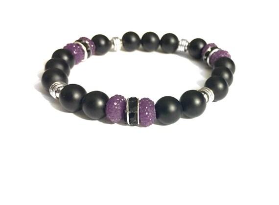 Black Onyx Bracelet • Gemstone Beaded Bracelets • Aquarius Jewelry • Tibetan Silver