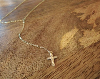 Dropped Cross Necklace