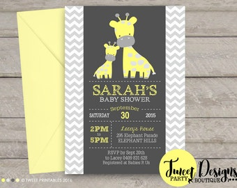 GIRAFFE BABY SHOWER Invitation, Yellow Giraffe Baby Shower invite, Printable Giraffe Baby Shower, Baby Shower Invitation, Baby Shower