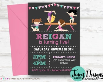 GYMNASTICS BIRTHDAY INVITATION, Printable Gymnastics Invitation, Gymnastic Party Invitation, Gymnastics Chalkboard Typography Invitation