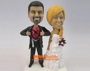 spiderman cake topper bobblehead custom cake topper Wedding Cake Topper bobble head spiderman wedding cake toppers - CT SM061