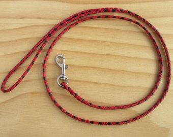 Lace Braided Dog Show Leash in Red & Black Kangaroo Leather Lace - Lead On Jeddah