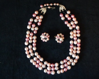 Hong Kong Triple Strand Pink and Black Necklace and Earrings Set