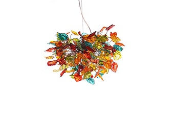Hanging Ligthing chandeliers with Colorful flowers and leaves - Light Fixture for Dinning Room, Living Room