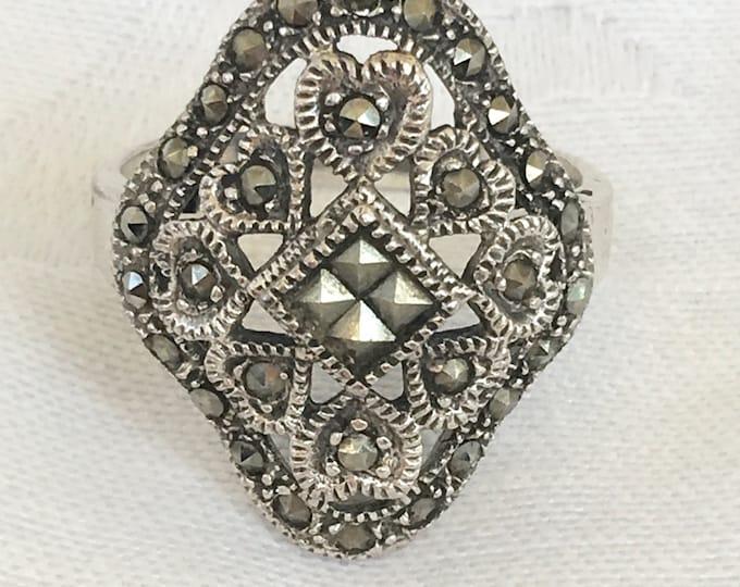 Art Deco Ring, Sterling Marcasite Ring, Openwork Design, Vintage Art Deco Jewelry