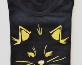 Cat in Black Women's Cotton T-Shirt Gold Foil by The First Snow