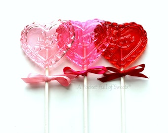 Valentine's Day Party, Valentine's Candy, Wedding Favors, Table Centerpieces, Valentine's Gift, Barley Sugar Pops, 8 Heart Lollipop Favors
