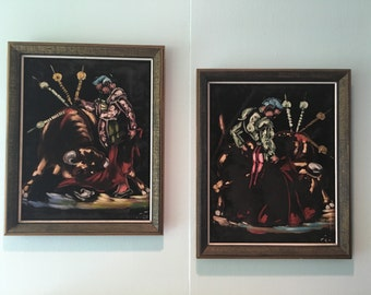 Set of Two Matador Velvet Paintings Mid Century MCM