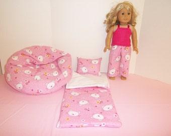 Fits American Girl Doll Cat Faces Sleeping Bag Pajamas And Bean Bag 257