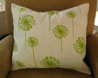 Big Chartreuse Dandelions on a White Linen Pillow Cover 18x18