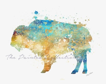 Buffalo Watercolor/ Bison Watercolor/ Contemporary Art/ Western Art/ Southwestern art