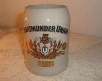 Vintage Stoneware Beer Stein, Dortmunder Union 1/2Liter Beer Stein,German Stoneware stein, Oktoberfest Mug, vintage collectible German Stein