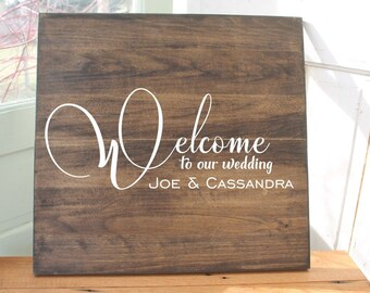 Welcome to our wedding sign personalized welcome name and wedding date sign