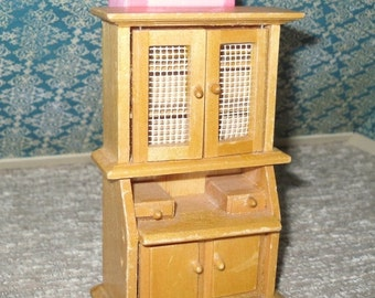 HOT SUMMER SALE 30% off Miniature dollhouse vintage wooden hutch with built in desk