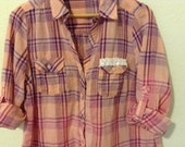 Distressed Plaid Shirt Bleached Grunge Once Loved Made New