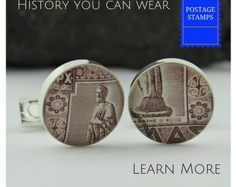 Medical Cufflinks. Unique Doctor Cuff Links for Men Handmade from Vintage Hippocrates Stamp, Perfect Graduation or Doctor Gift.