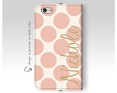 iPhone 6 Case , Wallet iPhone Case , iPhone 6 Plus Case , Leather Case , Personalized Case , Wallet iPhone 6s Case , Pink Polka Dots
