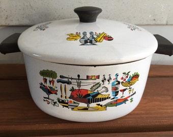 Vintage Enamel Cookware Stock Pot Mid Century Modern Kitschy Kitchen Mod Graphics Georges Briard Style Kitchenware Retro Kitchen Dutch Oven