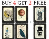 Print sale promo buy 4 get 2 free, art print set of 6 prints handmade best friend gift ideas promotion dictionary art print