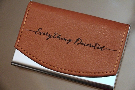 Custom Engraved Leather Business Card Holder Groomsmen Gift