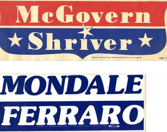 Four Vintage Political Bumper stickers