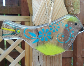 Fused Glass Hanging Bird Sun Catcher