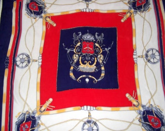 Nautical theme vintage scarf, red, navy and white