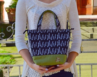 Insulated Lunch Bag/ Lunch Bag with Bottle Holder/ Handmade Lunch Bag/ Lunch bag for women