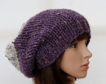 Chunky knit beanie in mauve and oatmeal/slouchy hat/thick beanie