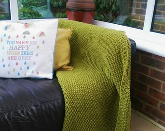 Knitted forest green blanket afghan