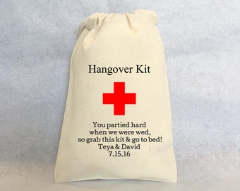 "Hangover Kit, set of 25, Personalized wedding favors- wedding favor bags, Cotton Drawstring Bags - wedding favors 5""x8"""