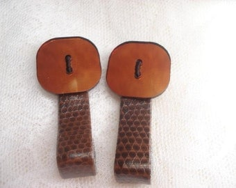 Button Hair Clip / Leather Hair Clip