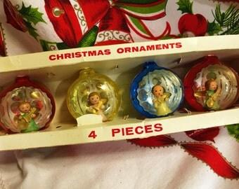 Vintage Christmas Angel Diorama Ornament Jewelbrite original box of 4