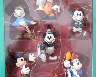 Set of Six Mickey Mouse Through Time Christmas Ornaments