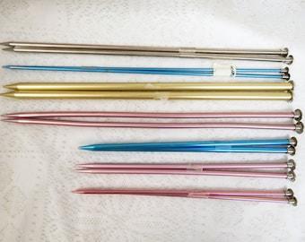 Knitting Needles  7 pair metal Boye, Hero and Bates larger Sizes