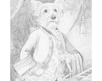Yorkshire Terrier Historical Pet Portrait, Lad Mozart, Dressed Up Animals