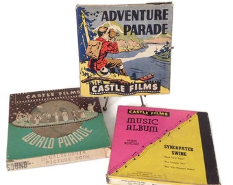 Vintage Castle Films 16MM 1940's Set of 3 with Sound Adventure Parade Music Album Syncopated Swing and World Parade with California