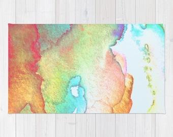 Abstract Throw Rug, Abstract Watercolor Rug, Abstract Pastel Watercolor Rug, Pastel Watercolor Rug, Abstract Watercolour Throw Rug