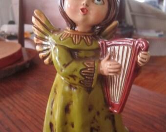 Vintage Christmas Angel with Harp Green Dress