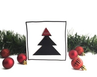 Red Musical Christmas Card | Real Vinyl Record Christmas Tree