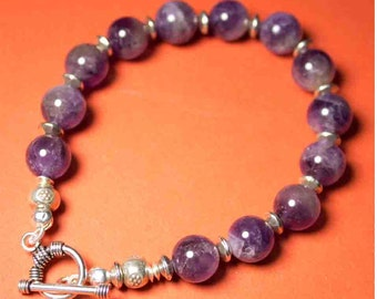 Cape Amethyst and Silver Bracelet