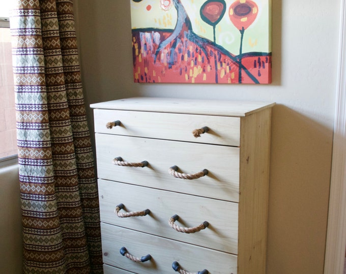 Inspiration: Black Iron Pulls and Frayed Drawer Knob