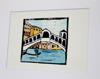 Venice canal linocut print
