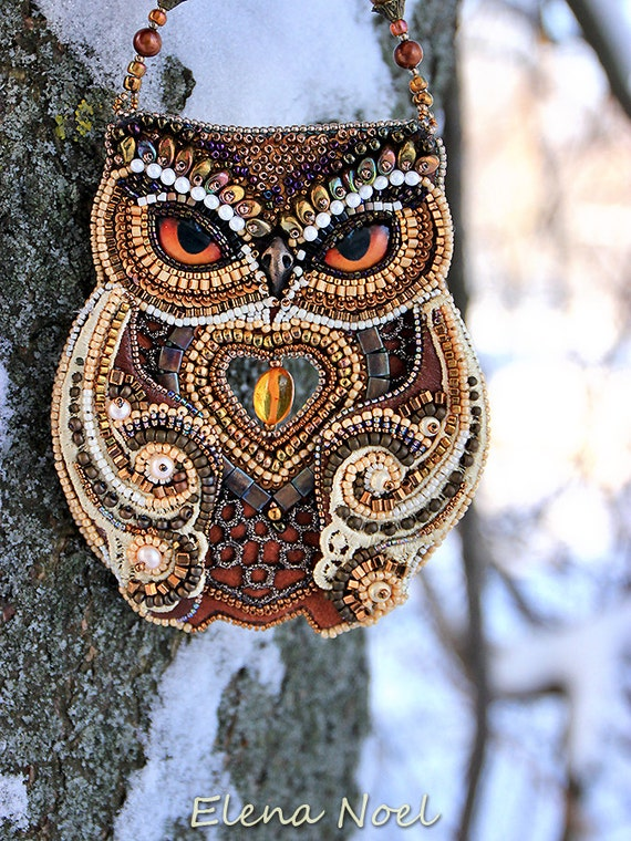 Forest owl and winter bead embroidery art