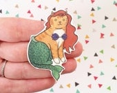 Halloween Cat Brooch Little Mermaid Cat Pin -  cat pin - Halloween Pin - cat jewellery-Unique Boutonnière